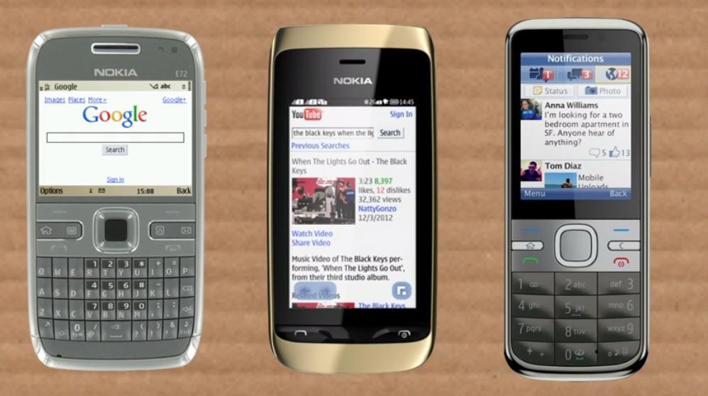 Google, YouTube et Facebook sur des téléphones ancienne génération
