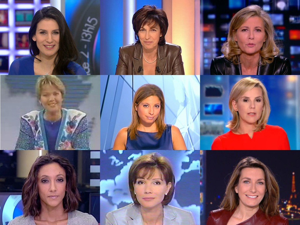 Montage de captures d'écran de présentatrices de journal télévisé.