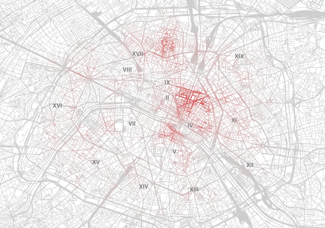 Carte de chaleur des annonces Airbnb à Paris. Plus la couleur d'une rue est vive, plus il y a d'annonces dans le quartier.