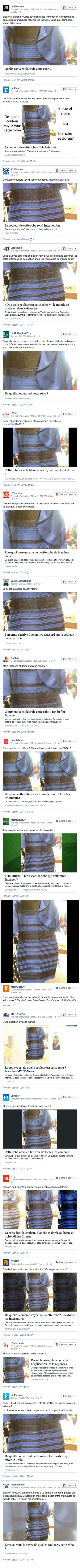 Captures d'écran tirées d'une série de pages Facebook de sites d'actualité français.