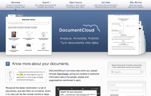 Capture d'écran du site de de DocumentCloud.