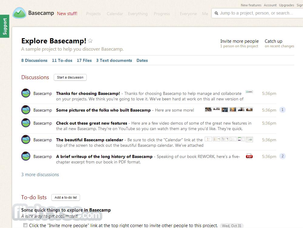 Capture d'écran d'une démo de Basecamp.