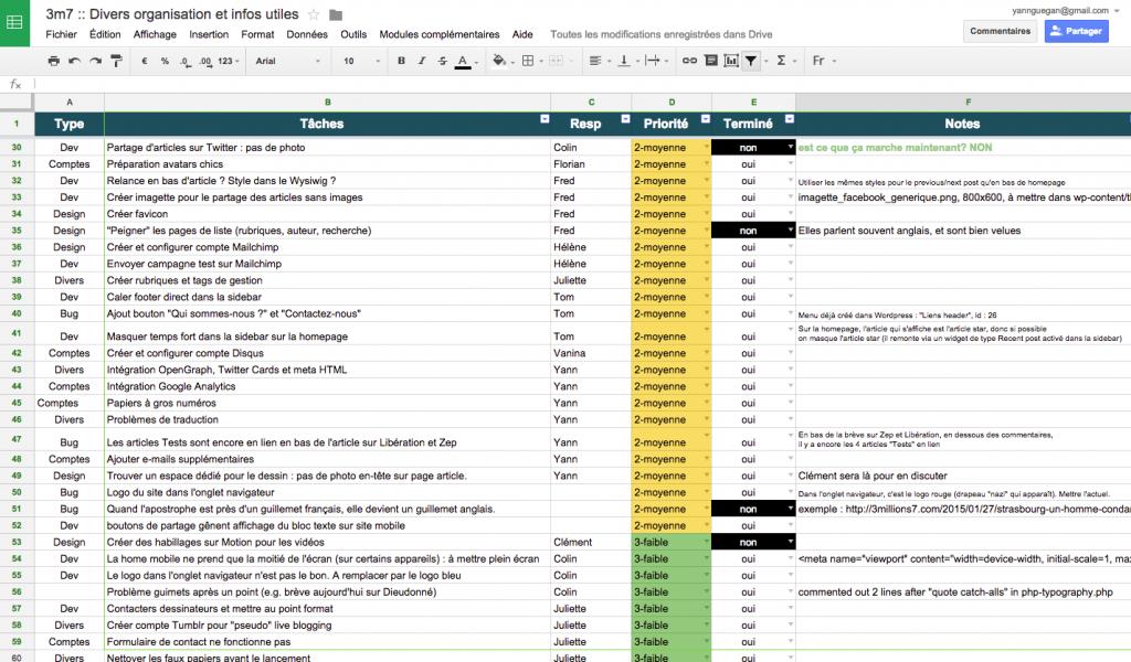 """Exemple de """"backlog"""" réalisé avec Google Sheet."""