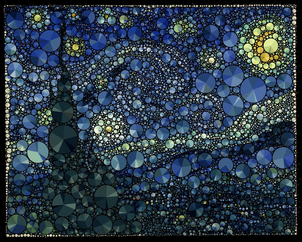 """""""La Nuit étoilée"""", de Van Gogh, revisitée façon camembert (Mario Klingemann/Flickr/CC-BY)."""